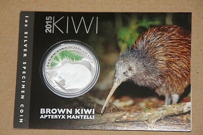 "1 Dollar Neuseeland 2015  ""Kiwi - Glow in the Dark"" Coincard 1 Unze Silber"