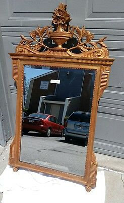 """Antique Wall Mirror Ornate Gold Gilt Solid Wood Beveled Mirror 34"""" x 56"""" Mint"""