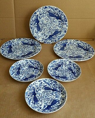 Antique Royal Crown Derby Blue Peacock Side Plates and Saucers