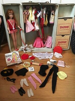 Vintage Redhead Straight Leg Skipper Doll Clothing Accessories Case Lot - NM!