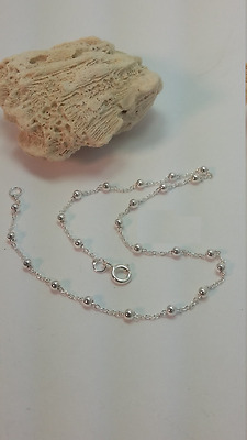 Sterling silver anklet; simple; beaded, 10 inches