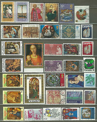 Christmas - Easter 34 Pictorial Stamps Used & Mnh Look (14)