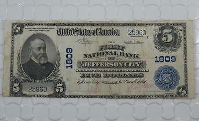 Series 1902 $5 Dollar National Bank Note 1809 First NB Jefferson City, MO P0051