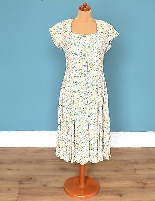 Vintage 80's Capped Sleeve Dress Retro Boho 12