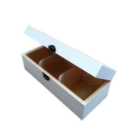 Wood Tea Box Caddy Chest Storage 3 Compartment Painted Ivory White Slcw