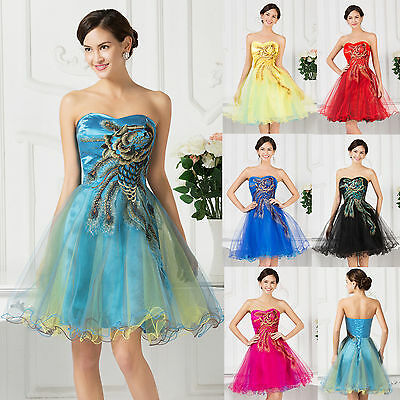 SALE ! PEACOCK Bridesmaid Masquerade Ball Gowns Cocktail Evening Prom Dress NEW