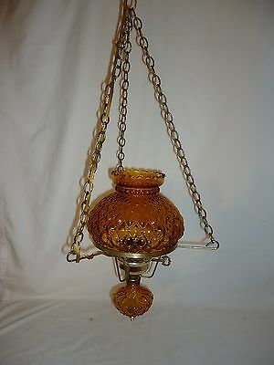 Vintage Diamond Quilted Amber Hurricane GWTW Hanging Ceiling Lamp