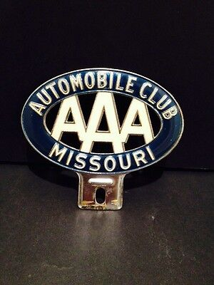 Missouri AAA Metal License Plate Topper Vintage 1950's Collectible Clean!