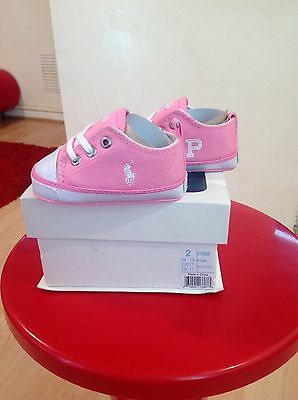 Polo Ralph Lauren Girl's Pink Trainers Shoes Size 1.5 U.K BNIB