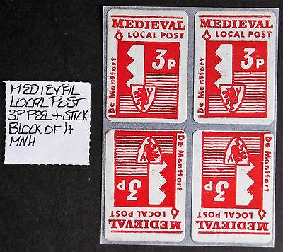 "(GB036) GB 1971 Strike Peel + Stick ""Medieval"" Block of (4) MNH see photo's."