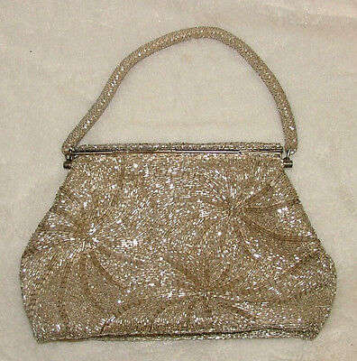 Vintage Purse Gold Silver Snap Close Small Sparkly Beaded Hand Bag