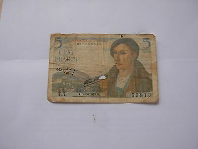 1943 Bank of France 5 Francs Military Banknote circulated