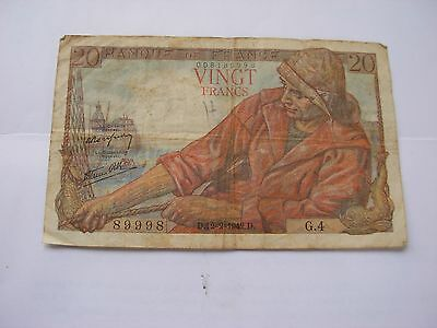 1942 Bank of France 20 Francs Military Banknote circulated