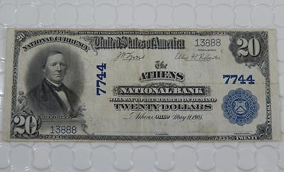 Series 1902 $20 Dollar National Bank Note 7744 Athens NB, OH Ohio P0054