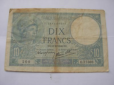 1940 Bank of France 10 Francs Military Banknote circulated