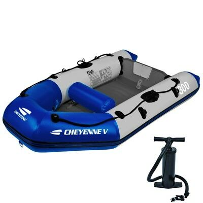 Inflatable Rubber Boat Dinghy Rowing Flooring 2 Adults River Fishing Hand Pump
