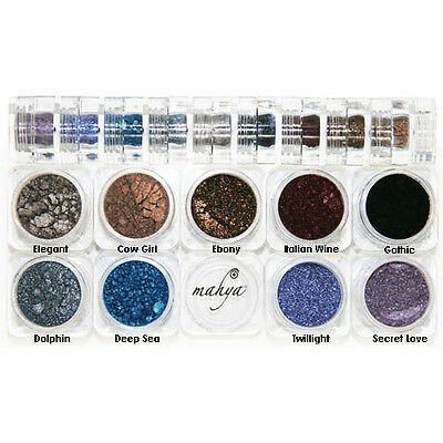 "MAHYA Pure Mineral Vegan Makeup Eye Shadow Pigment 9 Stackable Colors ""Gothic"""