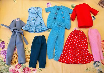 Vintage Home Made Clothing ? Made For Barbie Sindy Fashion Dolls Knitted + Cloth