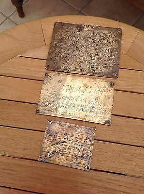 3 Vintage Brass Signs Plaques Plates English Electric Company & 2 Engineering