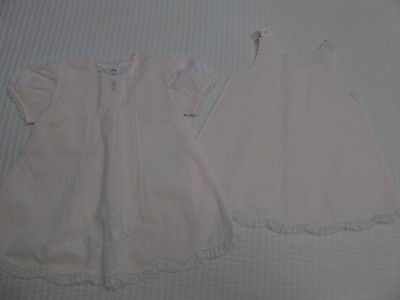 Feltman Brothers Embroidered Pintuck Pink Baby Dress and Slip 9 Mo Vintage