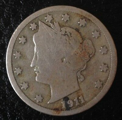 1911 5 FIVE CENTS USA US America Coin