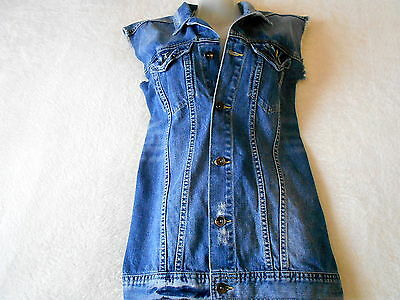 Ladies River Island  Blue Denim Waistcoat Vest Sleeveless 100% Cotton Size L