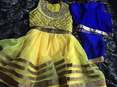 Yellow And Blue Anarkali Dress Kids Size 18