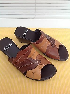 Clarks Brown Open Toe Wedge Sandals Size 6