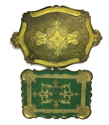 "2 Large Vintage Antique Italian Hand Painted Gilt Wooden Tray 11"" x 15"""