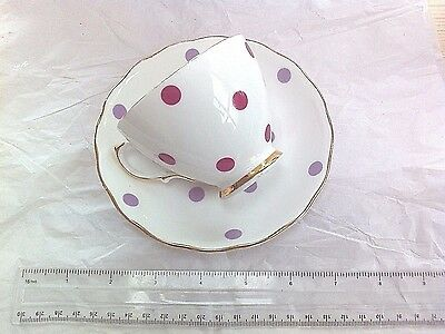 Royal Vale spots / dots china cup and saucer, plum and mauve English teacup