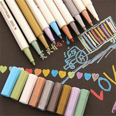 10 x Color Metallic Fine Pen Pencil Marker DIY Album Dauber Pen Set Waterproofft
