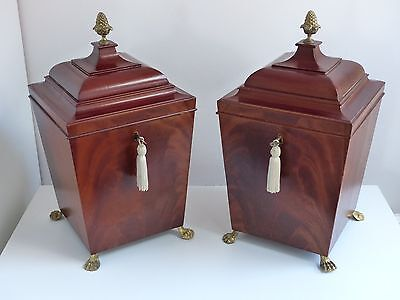 Pair of Large Antique / Vintage Georgian Style Mahogany Knife Boxes / Caskets