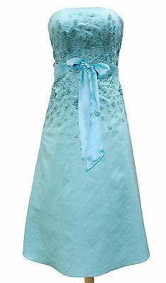 Monsoon WYSTERIA Size 10 Blue Green Silk Embellished Ladies Dress Party Wedding