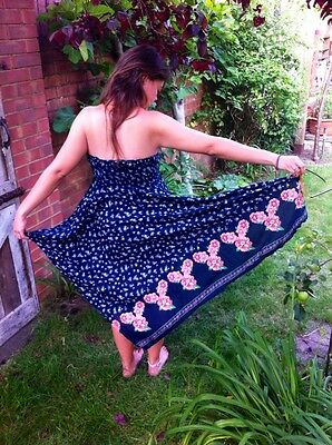 Stunning Floral Festival Summer Dress Boho Bandeau Scarf Style Beach Size 12/14