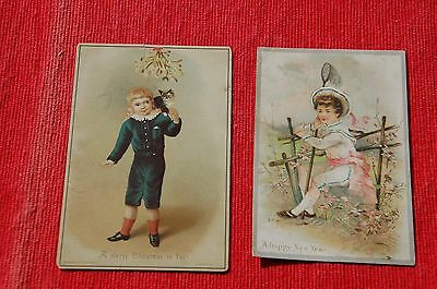 2 x  Victorian Childrens' Christmas & New Year Cards