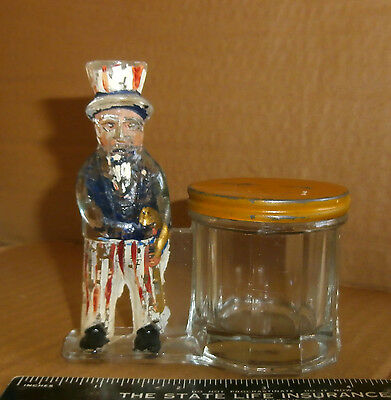 L. E. Smith Glass Uncle Sam Candy Container Bank ca 1918 Original E and A 801