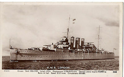 """""""H.M.S.London,Cruiser""""Built 1926-1929,Photograph,by Mills of Portsmouth, RP"""