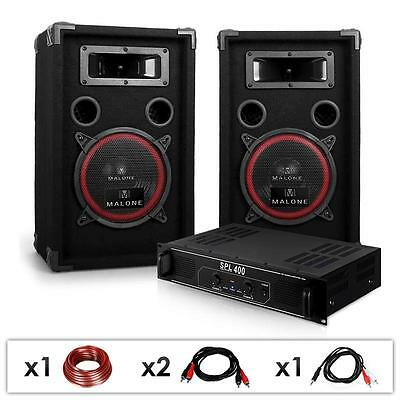 Basic Pa System Speaker Amplifier Package Incl. Cables Dj Amp Party Pubs Events