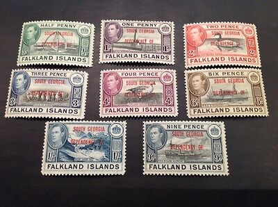 (111) Set of Falkland Island Dep. South Georgia Overprint 1944 MLH