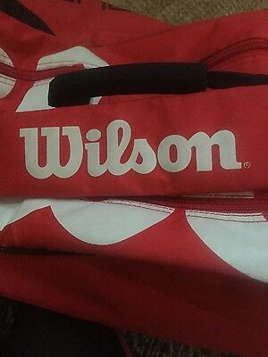 wilson tennis red bag two large compartments