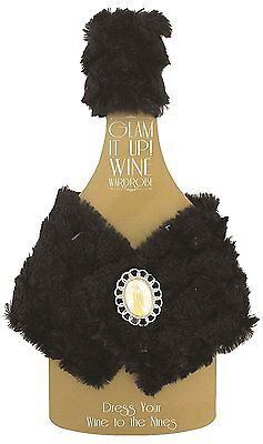 Wine Wardrobe Cover Ornate Bejeweled Magnetic Buttons Black