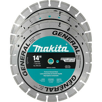"NEW MAKITA A-94932 (3-Pack) 14"" Premium Diamond Blades (Authorized Dealer)"