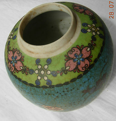 Totai cloisonne porcelain ginger jar with flowers on blue base signed no lid