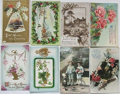 8 Used Birthday / Christmas Post Cards 1909 to 1919