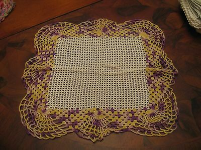 Pretty Vintage Hand Crochet Square Off White With Purple Yellow Doily Or Scarve