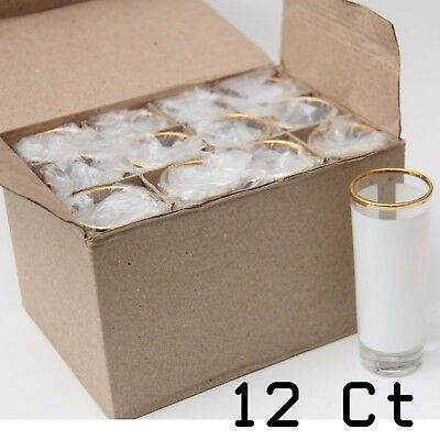Blank Dye Sublimation Shot Glass 3oz Large (12 units)  with Gold Rim
