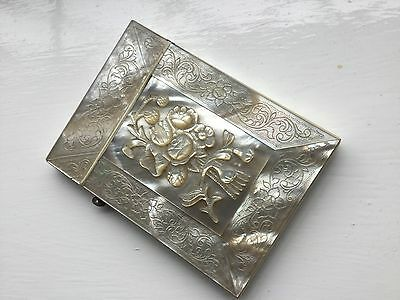 Superb Antique Deep relief Carved /floral etched Mother of Pearl Card Case