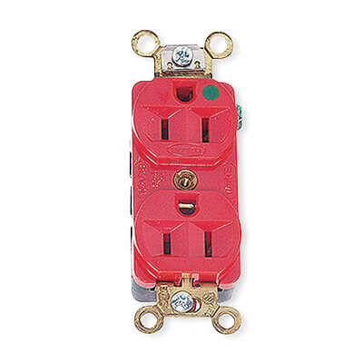 HUBBEL Thermoplastic Polyester Receptacle,Duplex,20A,5-20R,125V,Red, HBL8300HRED