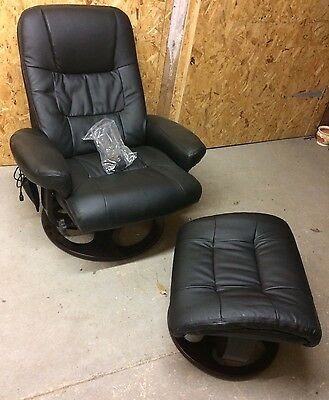 Massaging Leather Chair And Foot Rest