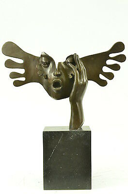 Signed Dali Abstract Female Sunshine Bronze Sculpture Marble Base Figure Statue